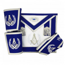 Blue Lodge Master Mason Apron Set Apron, Collar gauntlets (Cuffs)