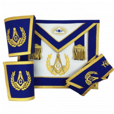 Blue Lodge Master Mason Apron Set Apron,Collar gauntlets (Cuffs) Gold