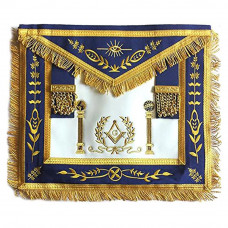 Navy Blue Apron Master Mason Square G & Pillars Freemasons Gold Fringe