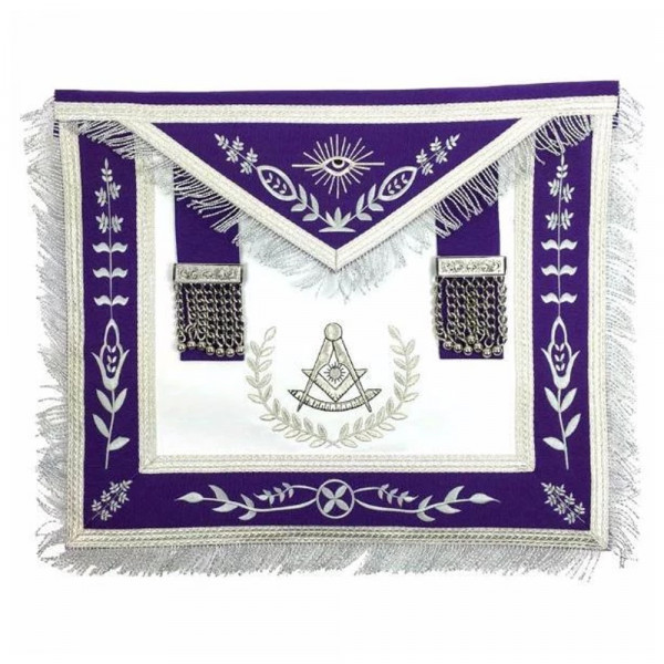 Masonic Blue Lodge Past Master Silver Machine Embroidery Purple Apron