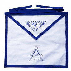 Masonic Blue Lodge White Cotton Duck Cloth Past Master Apron Printed
