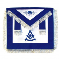 Masonic Past Master Apron Blue With White Fringe