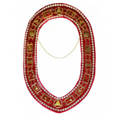 Royal Arch Chain Collar with Rhinestones - Gold/Silver on Red Velvet