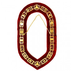 Royal Arch - Masonic Chain Collar - Gold/Silver On Red