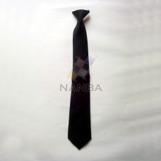 BLACK PLAIN TIE WITH PIN ON BACK