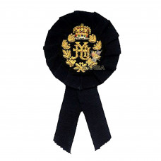 BLACK ROSETTE WITH EMBROIDERY BADGE