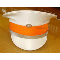 White Peaked Cap with Orange Band