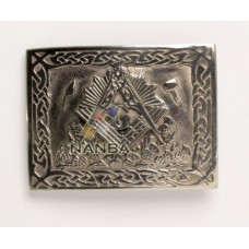 Masonic And Thistle Pewter Buckle
