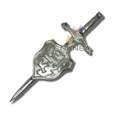 Pewter Lion Rampant Shield Kilt Pin