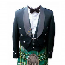 Prince Charlie Jacket  | Fancy Black With Silver Braid & White Piping