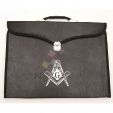 MASONIC REGALIA FILE CASE BLACK SQUARE COMPASS G - Hard HANDLE