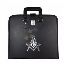MASONIC REGALIA FILE CASE BLACK  SQUARE COMPASS G  - SOFT HANDLE