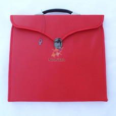 Masonic Regalia File Case Leather Red- Hard Handle