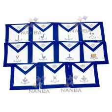 Blue lodge Regalia Aprons Set - 11 aprons