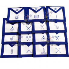 Blue lodge Regalia Aprons Set - 15 aprons