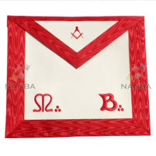 Masonic Red MB Apron Machine Made Embroidery