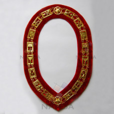 Masonic Chain Collar - Gold on Red