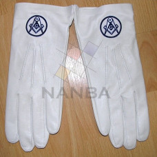 Masonic White Leather Gloves With Logo