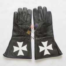 Masonic Knights of Malta Leather Gloves