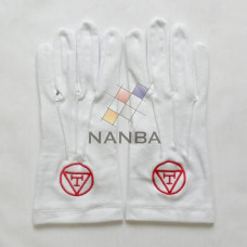 Masonic White Cotton Gloves With RA logo