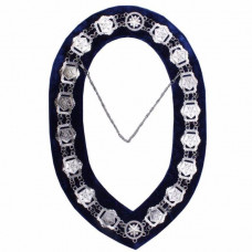 OES - Masonic Compass Square Chain Collar - Gold/Silver on Blue + Free Case