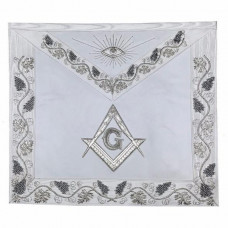 MASTER MASON Grand White Hand Embroided Apron with Square Compass G