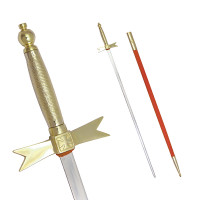 Masonic Sword with Gold Hilt and Black / Red Scabbard