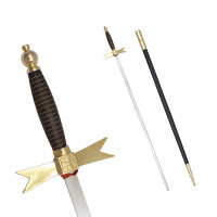 Masonic Knights Templar Sword with Black Gold Hilt and Black Scabbard 35 3/4""