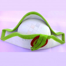 CEREMONIAL HAT (WHITE AND PARROT GREEN)
