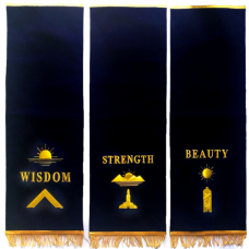 Masonic Blue Lodge Pedestal Covers - Set Of Three Hand Embroidered