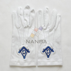 Masonic White Cotton Gloves With Square And Compass