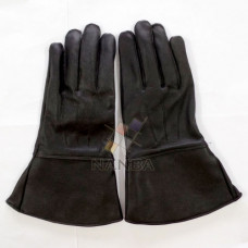 Knights black leather gauntlets