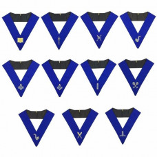 Blue Lodge Officers Collar Set of 11 Machine Embroidery Collars